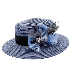 blue boater with blue feather trim