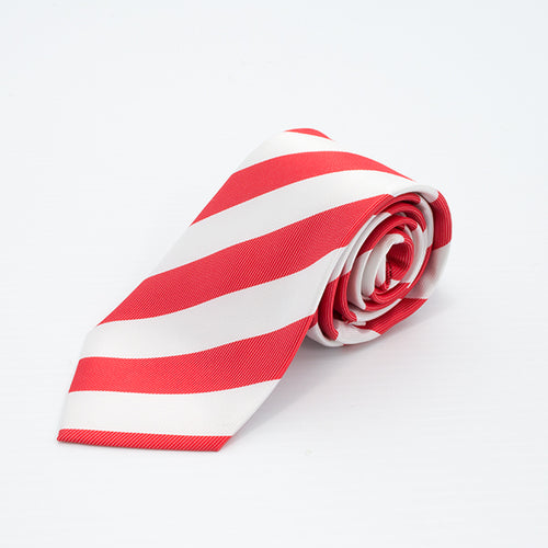 Bright red & white broad stripe tie