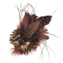 Load image into Gallery viewer, Burgundy Brown Feather Trim