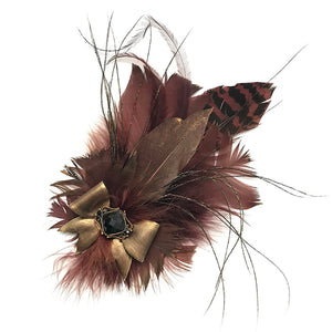 Burgundy Brown Feather Trim
