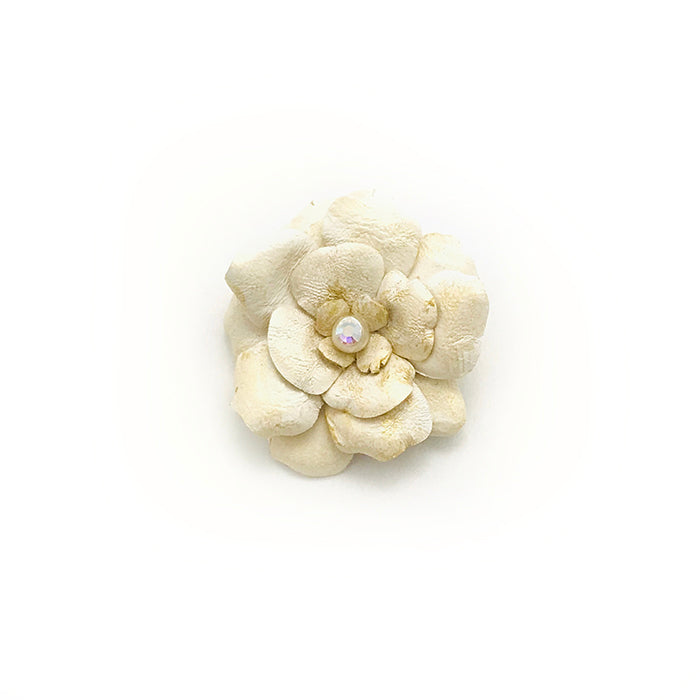 Ivory & Gold Accent Flower