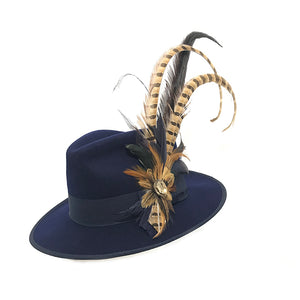 Large Navy & Pheasant Feather Trim