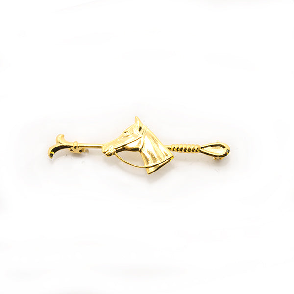 Gold Crop & Horse Head Pin