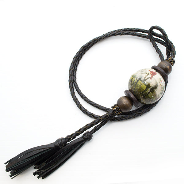 plaited leather lanyard style necklace wit decoupage bead