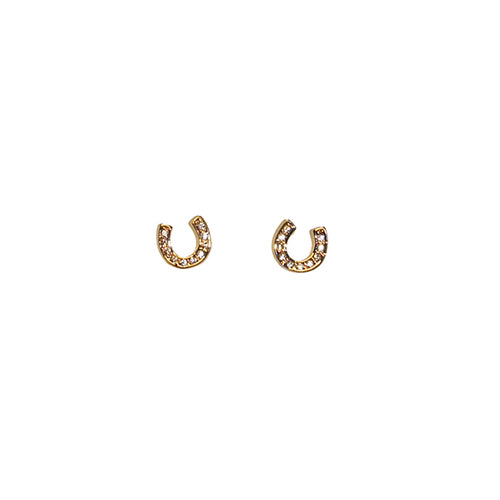 Petite Crystal Horseshoe Earrings with sparkling swarovski crystals. Available in imitation rhodium finish or gold plate.