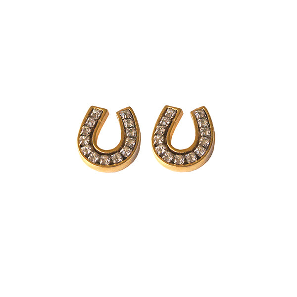 Goldtone Clear Crystal Horseshoe Earring channel set with sparkling clear swarovski crystals