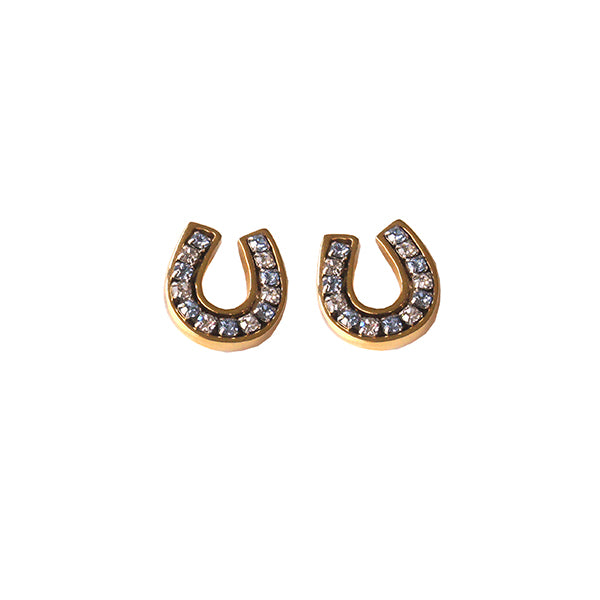 Goldtone Blue Crystal Horseshoe Earring, channel set with sparkling blue and clear swarovski crystals