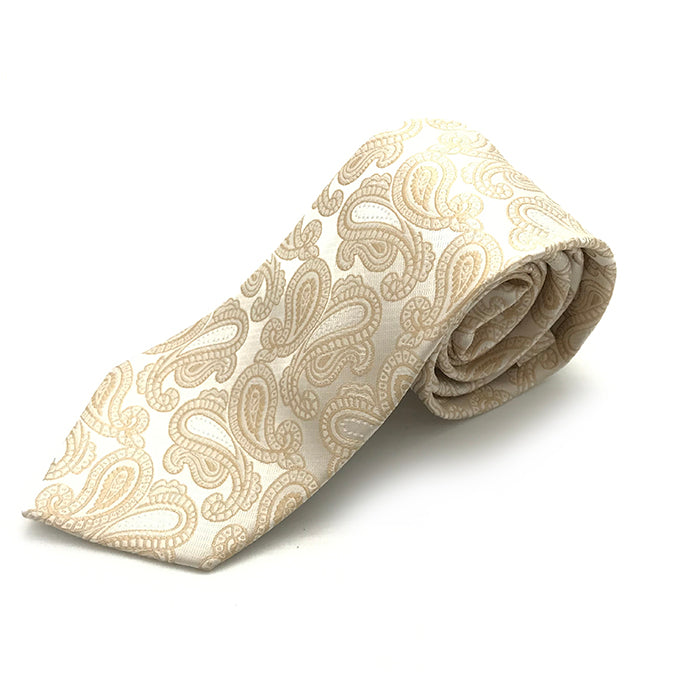 Ivory & Gold Paisley Tie