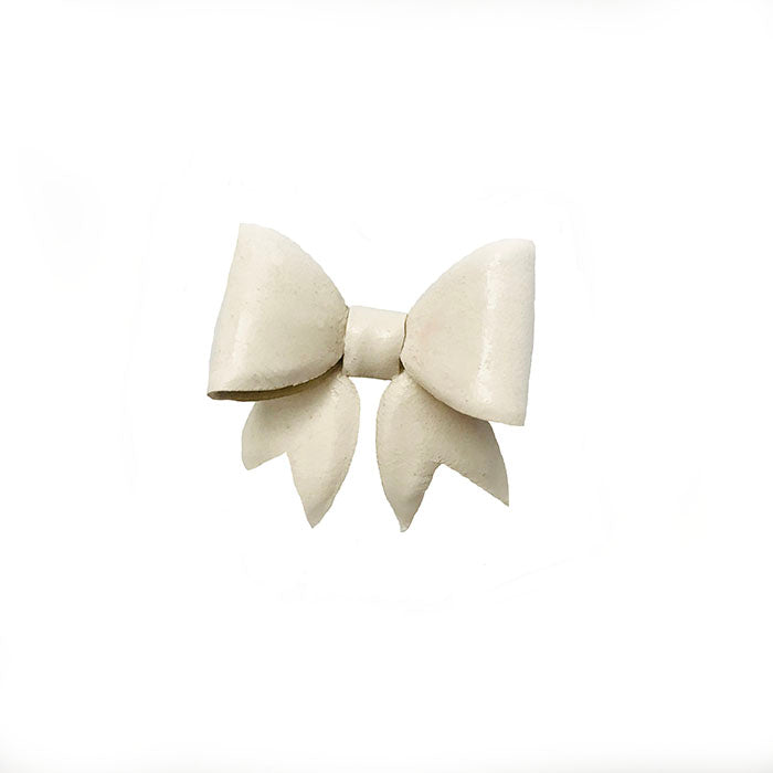 Ivory Leather Bow Lapel