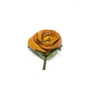 Mustard Leather Rosebud Lapel