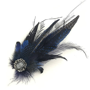 Navy & Royal Feather Trim