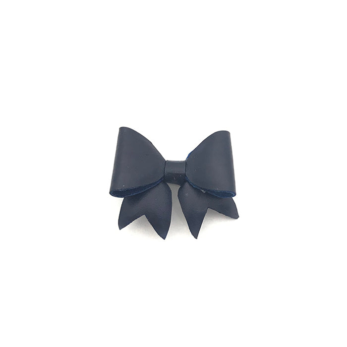 Navy Leather Bow Lapel