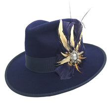 Load image into Gallery viewer, Navy Wool Felt Fedora