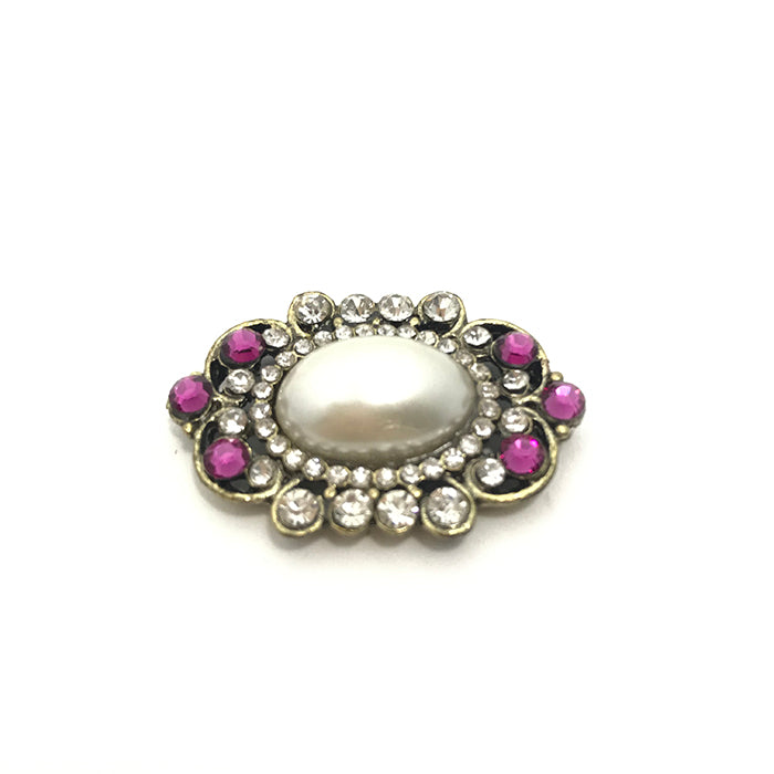 Oval Pearl & Pink Pin