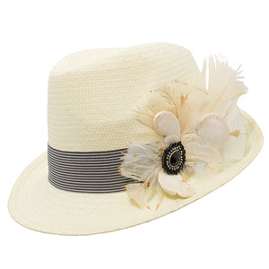 Natural Trilby Striped Band