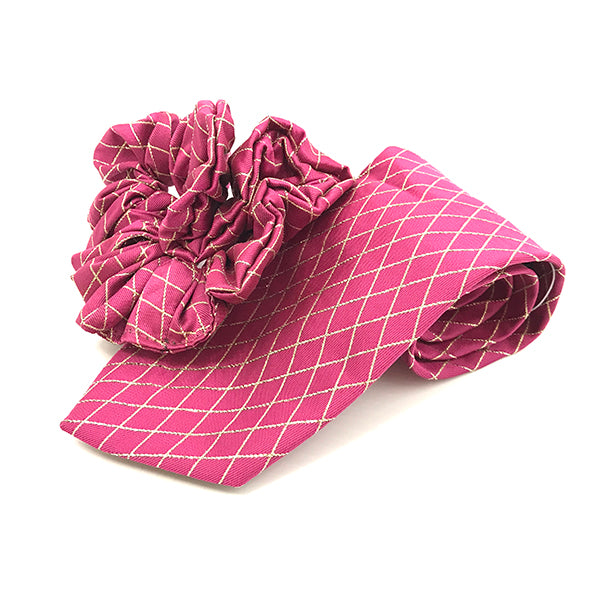 pink and gold lurex lattice tie and scrunchy