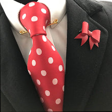 Load image into Gallery viewer, Red Leather Bow Lapel