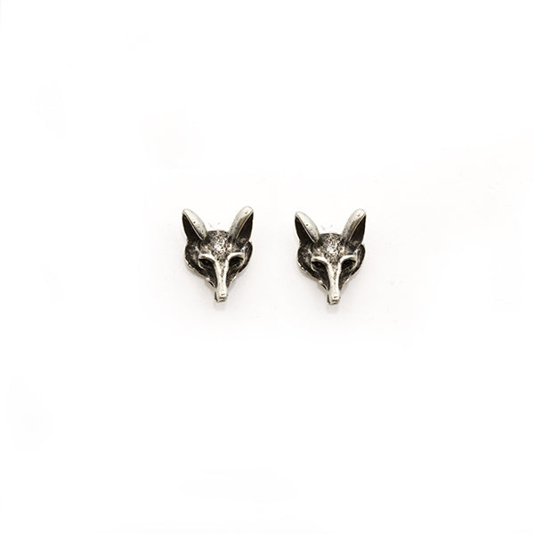 Retro Silver Fox Mask Earring