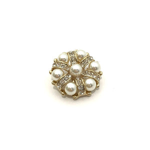 Round Pearl & Crystal Pin