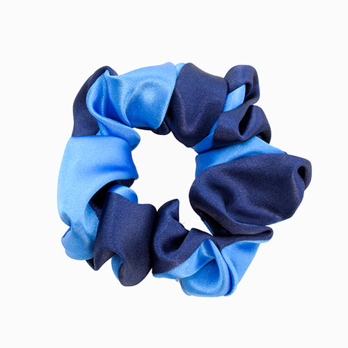 navy and royal satin look scrunchy