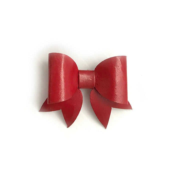 Red Leather Bow Lapel
