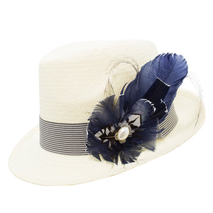 Navy & White Feather Trim