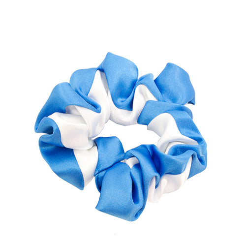 White & royal blue scrunchy
