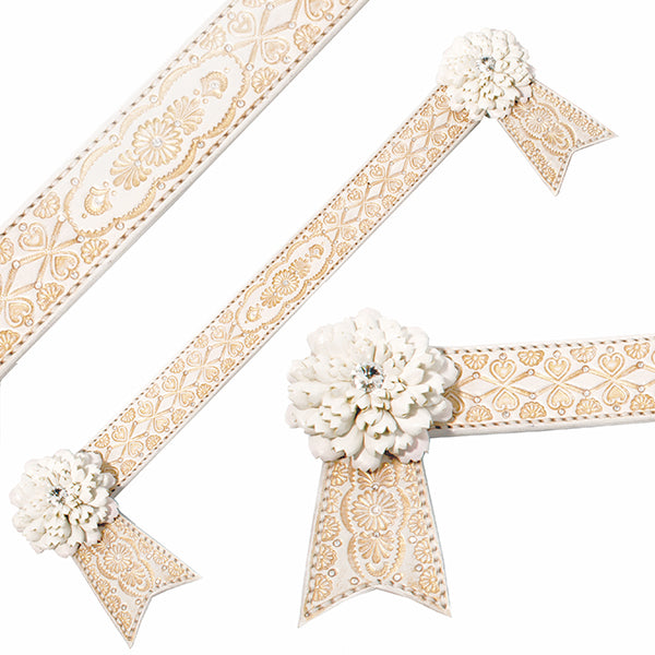 white and Rose gold browband