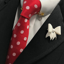 Load image into Gallery viewer, Ivory Leather Bow Lapel