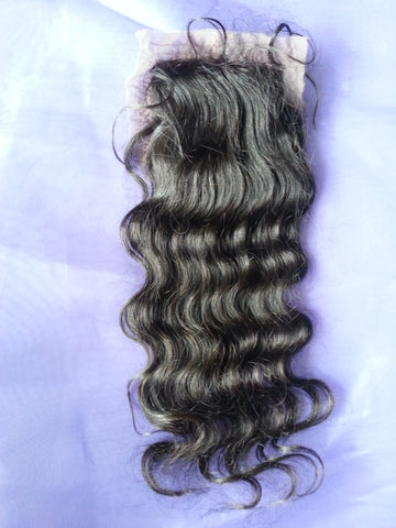 Virgin Hair Silk Base Closure <br> Wavy