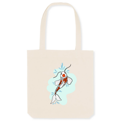 Tote Bag; Japon; poisson; carpe Koï, gleti; bio; éthique; vegan