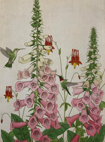 Hummingbirds and Foxgloves