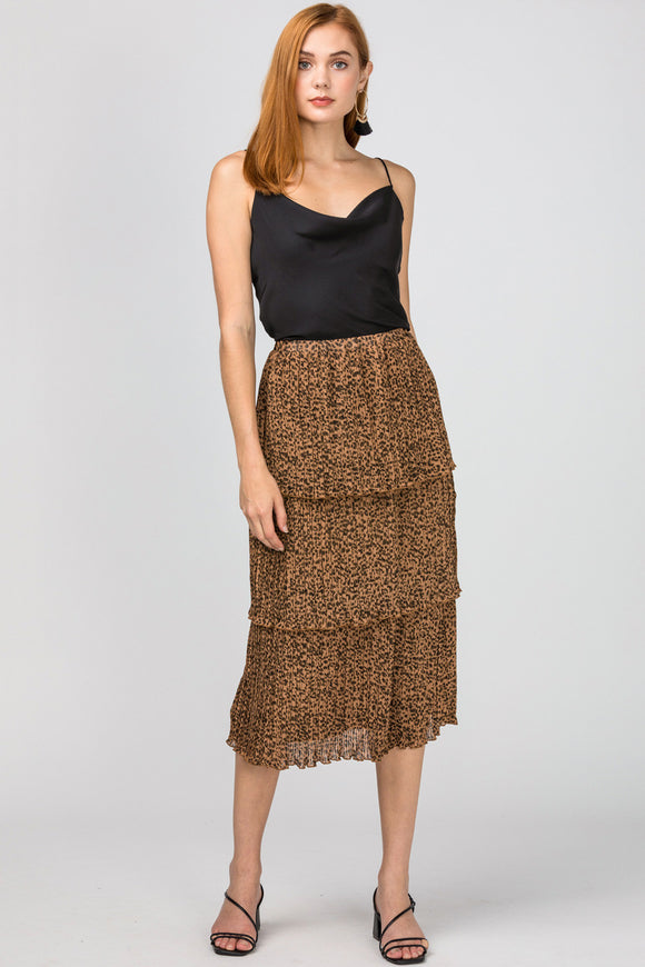 Leopard Midi Layered Skirt - Brown
