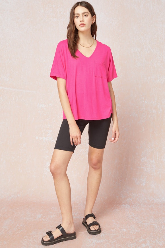 Essential Pocket Tee - Hot Pink