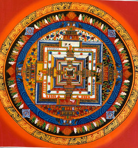 Kalachakra Mandala Orange Aura Background  2019C12
