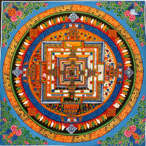 Kalachakra Mandala Blue Background with Floral Corners Item 2019C1