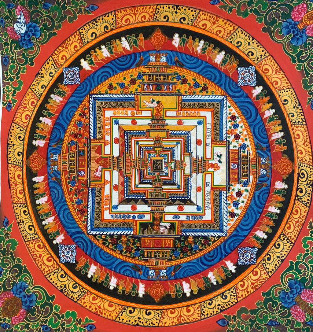 Kalachakra Mandala Red Background Floral Corners 2019C20