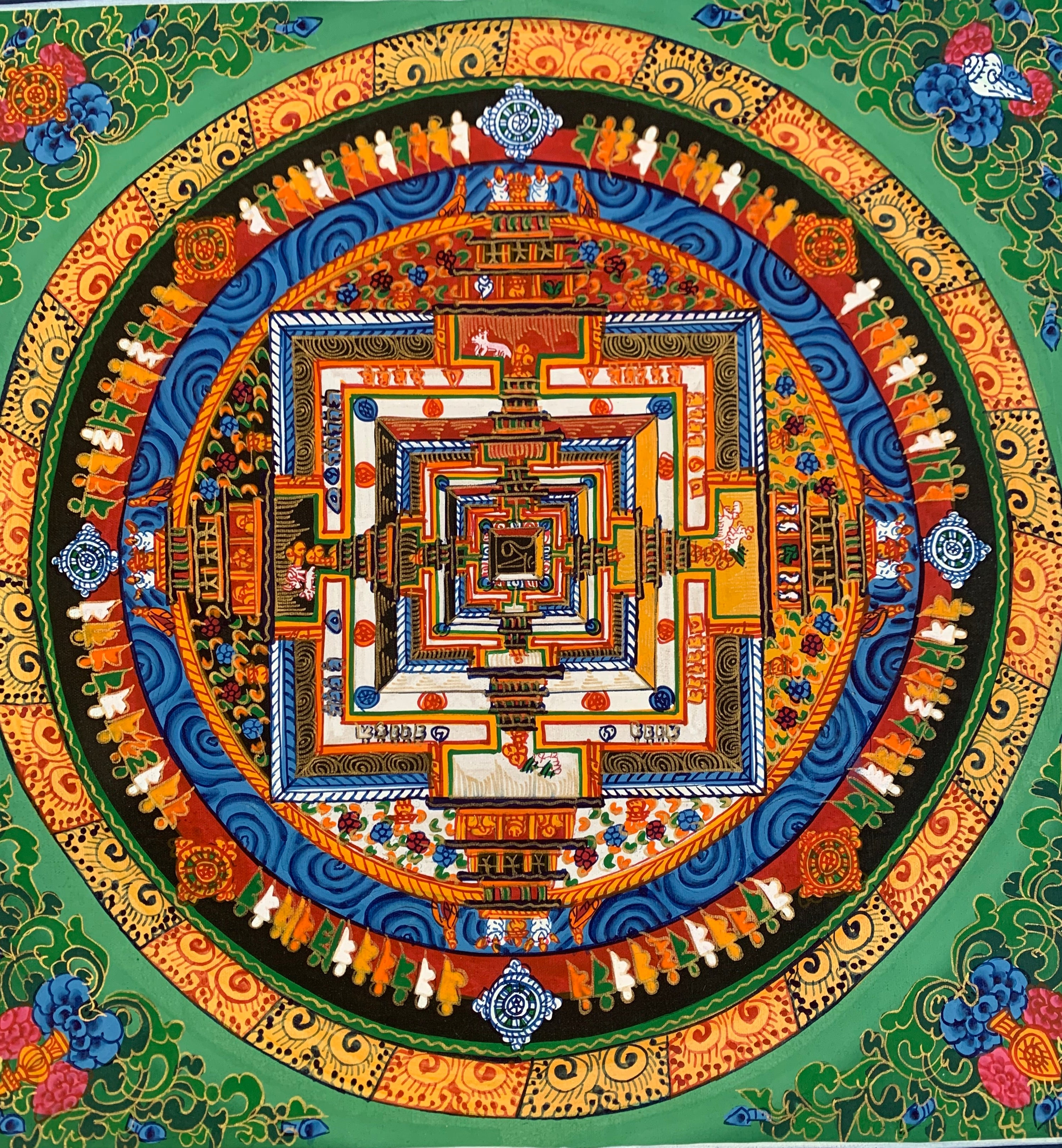 Kalachakra Mandala Green Background Floral Corners 2019C23