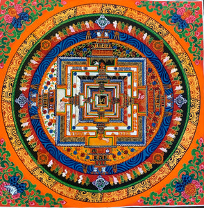 Kalachakra Mandala Orange Background Floral Corners 2019C26