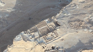 AD_019E Aerial helicopter footage of Massada: high angle Massada historical site