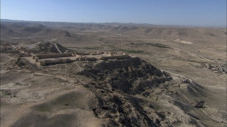 AE_027 Aerial helicopter footage of Southern Israel: Avdat (Ovdat) in the Negev Desert
