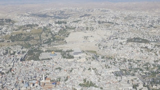 AJ4K_018 - Aerial 4K footage of Jerusalem: The old city from the south east, with Mt. Olives in the foreground