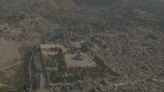 AJ4K_021 - Aerial 4K footage of Jerusalem: A long shot of the Old City of Jerusalem form the south