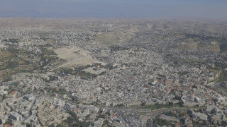 AJ4K_012 - Aerial 4K footage of Jerusalem: high altitude shot from the north west, with the Old City, Termple Mount and the surrounding villages