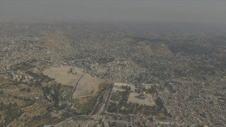 AJ4K_016 - Aerial 4K footage of Jerusalem: The old city quarters with Mt. Olives and villages in the background