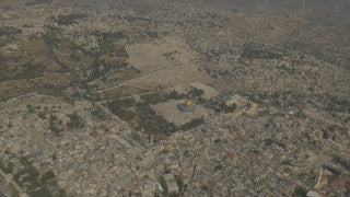 AJ4K_022 - Aerial 4K footage of Jerusalem: Filmed from the north-west -  High angle with the Judean desert in the background
