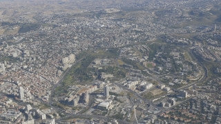 AJ4K_046 - Aerial 4K footage of Jerusalem: from the north - Givat Ram, the Israel Museum, The Knesset building and government Hill