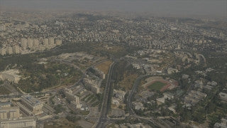 AJ4K_047 - Aerial 4K footage of Jerusalem: from the north - The Supreme Court, Givat Ram, the Israel Museum, The Knesset building and government Hill
