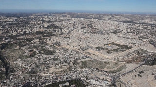 AJ_007E Aerial helicopter footage of Jerusalem Old City and Mount Olives, from the east