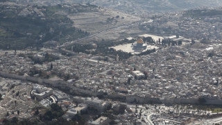 AJ_022n Aerial helicopter footage of Jerusalem Temple Mount, Western Wall, Haram Al Sharif